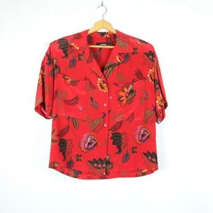 Vintage Oversize Silk Button Up 90s Shirt Red 10 L